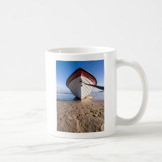 Fishing boat on shore of the Baltic Sea Basic White Mug