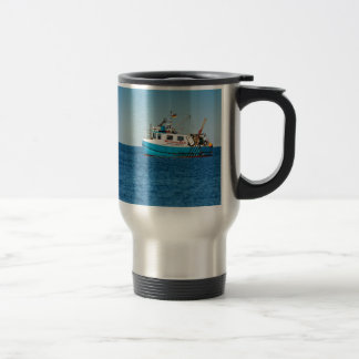 Fishing boat on shore of the Baltic Sea Stainless Steel Travel Mug