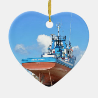 Fishing Boat On The Hard Ceramic Heart Decoration