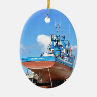 Fishing Boat On The Hard Ceramic Oval Decoration