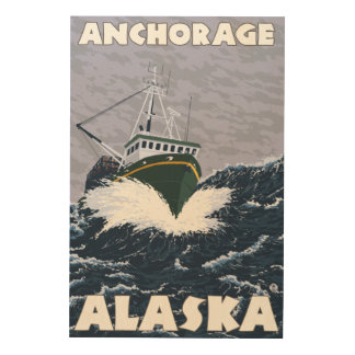 Fishing Boat Scene - Anchorage, Alaska Wood Print