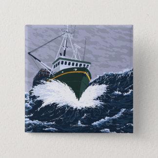Fishing Boat Scene - Curry, Alaska 15 Cm Square Badge