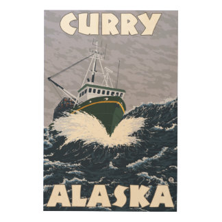 Fishing Boat Scene - Curry, Alaska Wood Wall Art