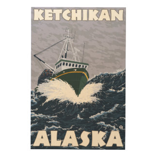 Fishing Boat Scene - Ketchikan, Alaska Wood Print