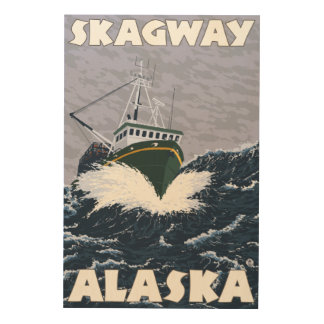 Fishing Boat Scene - Skagway, Alaska Wood Wall Art