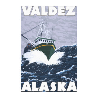 Fishing Boat Scene - Valdez, Alaska Canvas Print