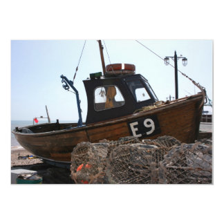Fishing boat, Sidmouth, Devon, UK 13 Cm X 18 Cm Invitation Card