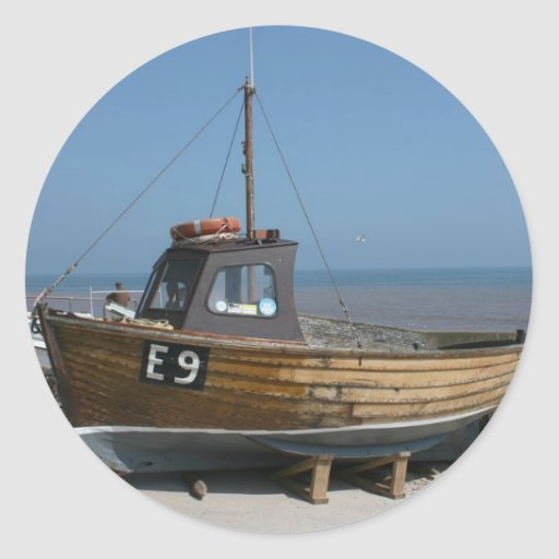 Fishing boat sidmouth devon uk round stickers zazzle for Round fishing boat