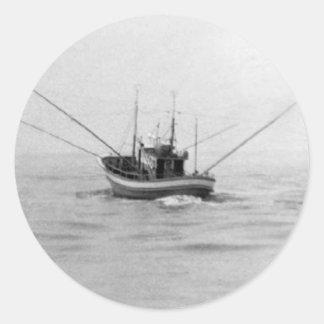 Fishing Boat Trolling Classic Round Sticker