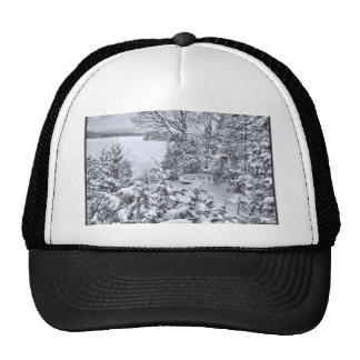 Fishing Boat, Winter Forest, Christmas Snowstorm Cap