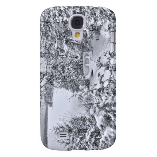 Fishing Boat, Winter Forest, Christmas Snowstorm Galaxy S4 Cover