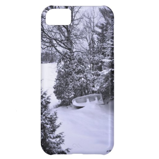 Fishing Boat, Winter Forest, Christmas Snowstorm Cover For iPhone 5C