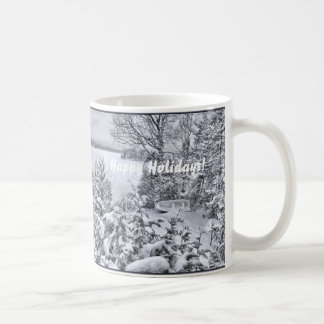 Fishing Boat Winter Forest Christmas Snowstorm Cup Basic White Mug