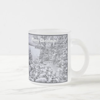 Fishing Boat Winter Forest Christmas Snowstorm Cup Frosted Glass Mug