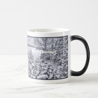 Fishing Boat Winter Forest Christmas Snowstorm Cup Morphing Mug