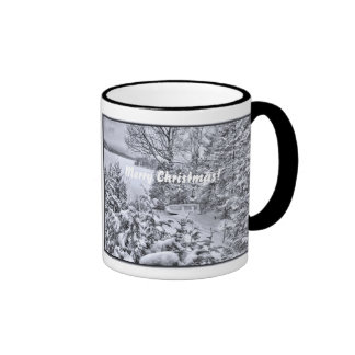 Fishing Boat Winter Forest Christmas Snowstorm Cup Ringer Mug