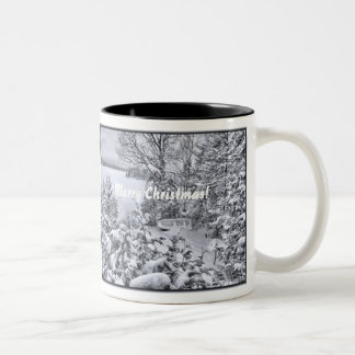 Fishing Boat Winter Forest Christmas Snowstorm Cup Two-Tone Mug