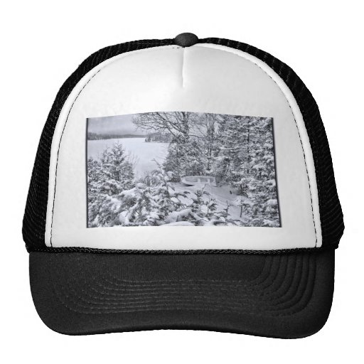 Fishing Boat, Winter Forest, Christmas Snowstorm Trucker Hat