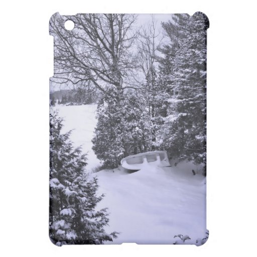 Fishing Boat, Winter Forest, Christmas Snowstorm iPad Mini Cover