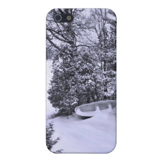Fishing Boat, Winter Forest, Christmas Snowstorm iPhone 5 Covers