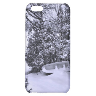 Fishing Boat, Winter Forest, Christmas Snowstorm iPhone 5C Cases