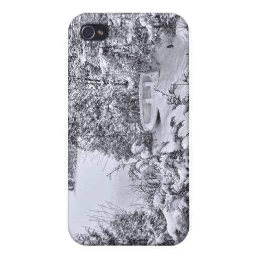 Fishing Boat, Winter Forest, Christmas Snowstorm iPhone 4 Case