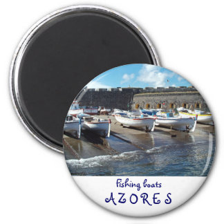 Fishing boats 6 cm round magnet