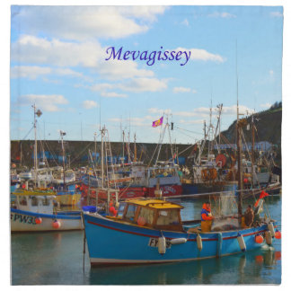 Fishing Boats at Mevagissey Cornwall England Photo Napkin