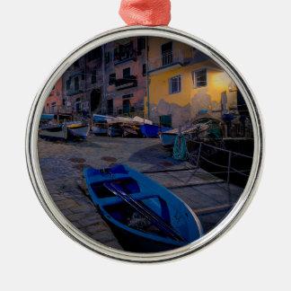 Fishing boats at Riomaggiore, Cinque Terre, Italy Silver-Colored Round Decoration
