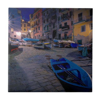 Fishing boats at Riomaggiore, Cinque Terre, Italy Tile