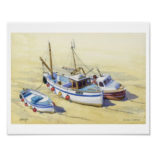 Fishing boats at St Ives, Cornwall Poster