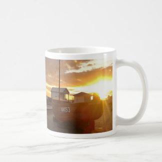 Fishing Boats At Sunset Basic White Mug