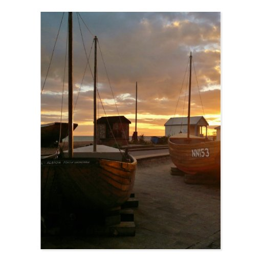 Fishing Boats At Sunset Postcards