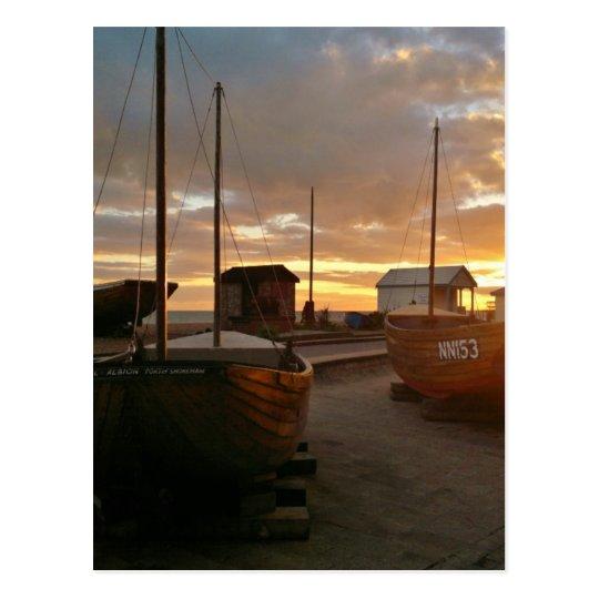Fishing Boats At Sunset Postcard