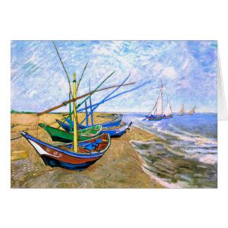 Fishing Boats Beach Saintes-Maries Van Gogh Fine Greeting Card