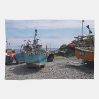 Fishing Boats Cadgwith Cornwall England Tea Towel