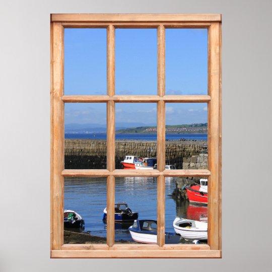 Fishing Boats - Faux Window Effect Poster