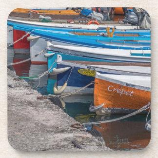 Fishing boats hard plastic coasters