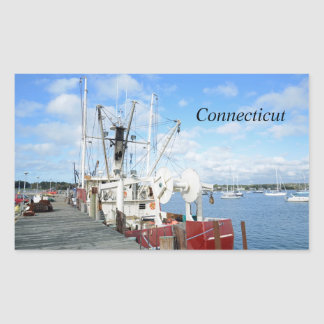 fishing boats in Connecticut Rectangular Sticker