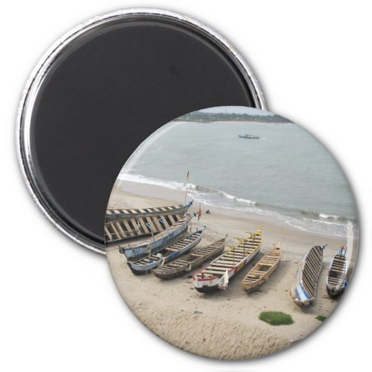 Fishing Boats in Elmina, Ghana 6 Cm Round Magnet