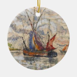 Fishing Boats in La Rochelle, c.1919-21 Round Ceramic Decoration