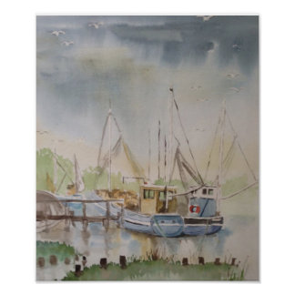 Fishing Boats In Rye Harbour East Sussex England Poster