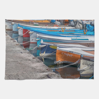 Fishing boats kitchen towel