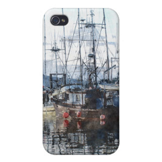 Fishing Boats Marina Watercolour Art iPhone Case Cases For iPhone 4