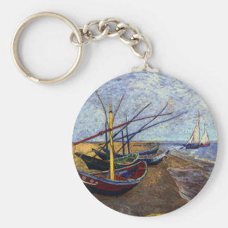Fishing Boats on Beach Basic Round Button Key Ring