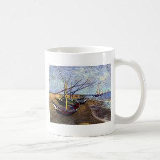 Fishing Boats on Beach Basic White Mug