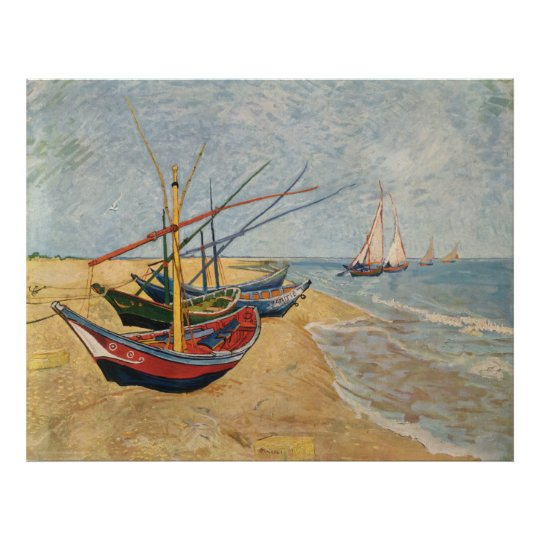 Fishing Boats on the Beach at Saintes-Maries, 1888 Poster