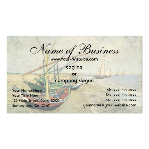 Fishing Boats on the Beach by Vincent van Gogh Business Card
