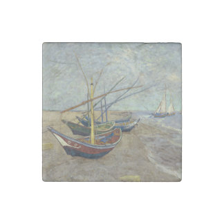 Fishing Boats on the Beach by Vincent Van Gogh Stone Magnet