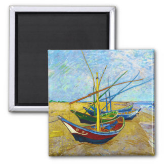 Fishing Boats on the Beach by Vincent Van Gogh Square Magnet